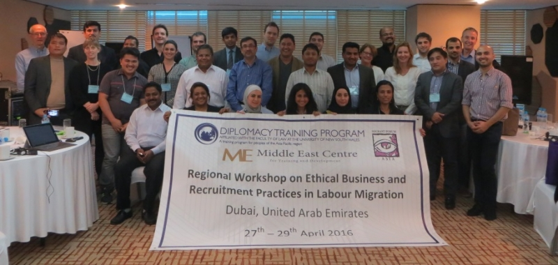 Participants along with trainers from the regional workshop on ethical business and recruitment practices in labour migation